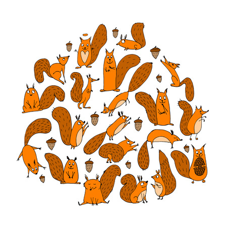 Funny squirrel with nut, collection for your design Ilustrace