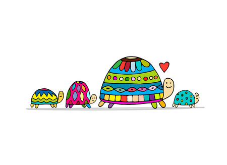 Funny family, turtle with chidren, sketch for your design. Vector illustration Stock Photo