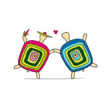 Grappig schildpadpaar, schets voor uw ontwerp. Vector illustratie