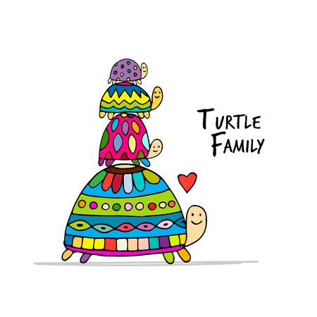 childen: Funny family, turtle with chidren, sketch for your design. Vector illustration Stock Photo
