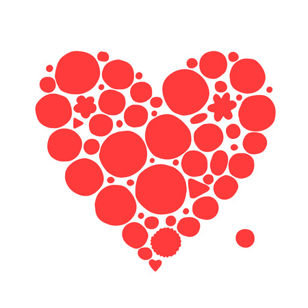 red shape: Abstract red heart shape, sketch for your design