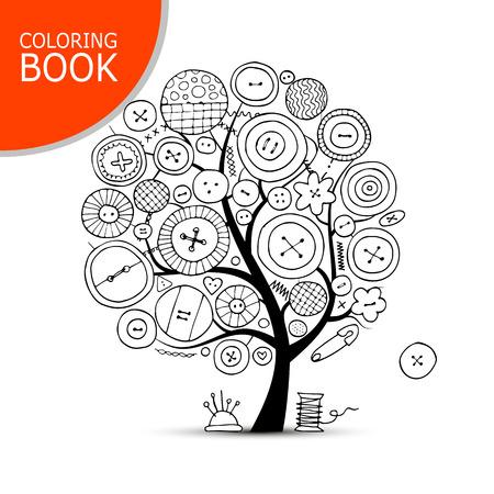 Coser Artesanías, árbol De Arte. Página Para Tu Libro Para Colorear ...