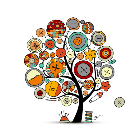 tree: Sewing crafts, art tree. Sketch for your design Illustration