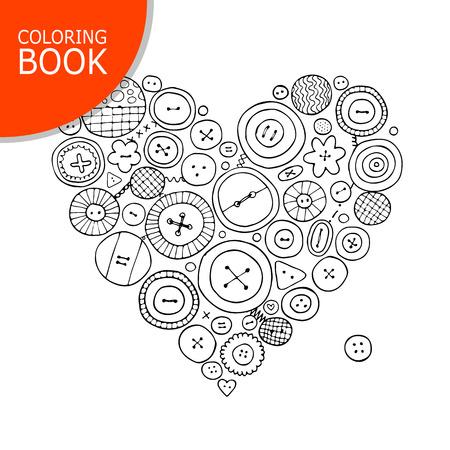Kolekcja przycisków, kształt serca. Strona do kolorowania książki
