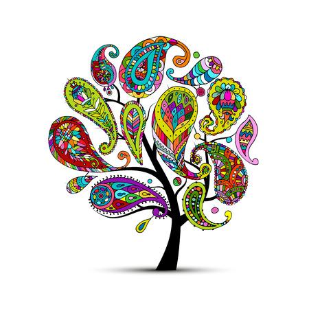 Paisley ornament, kunstboom, schets voor uw ontwerp