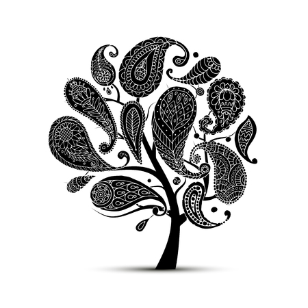 tree logo: Paisley ornament, art tree, sketch for your design