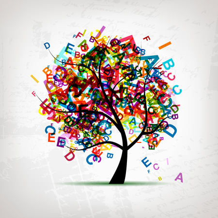 tree: tree, letter, concept, english, vector