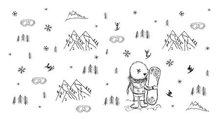 freeride: Girl with snowboard, winter background sketch design Illustration