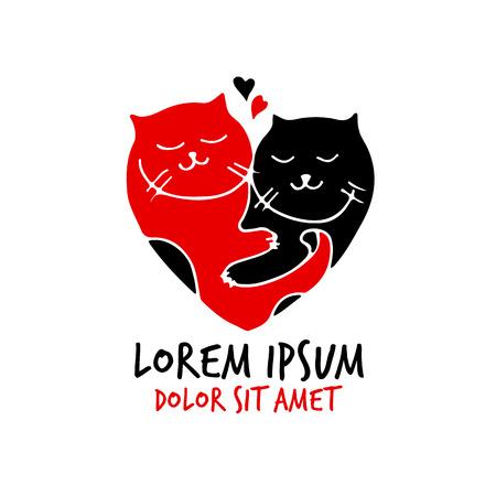 wedding love: cats love vector heart couple valentine wedding Illustration