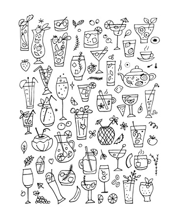 ice tea: Drinks collection, design of coloring book page Illustration