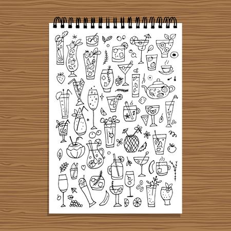 Colección De Bebidas, Diseño De La Página De Libro Para Colorear ...
