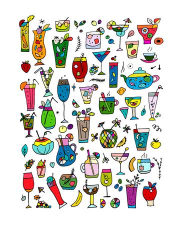 음료 컬렉션, 디자인을위한 스케치