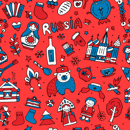 Russian-inspired seamless pattern. Illustration