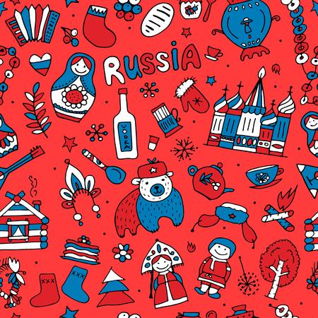 matreshka: Russian-inspired seamless pattern. Illustration