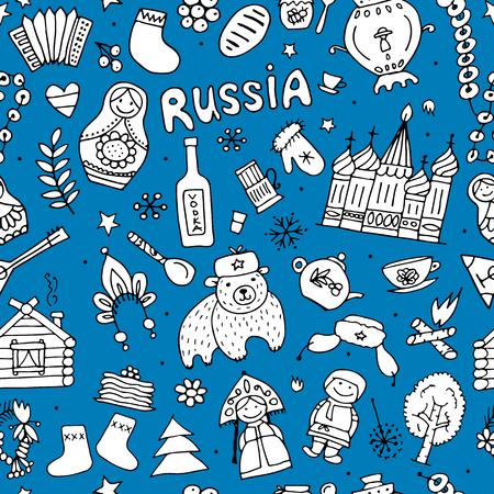 matrioska: Russian-inspired seamless pattern. Illustration
