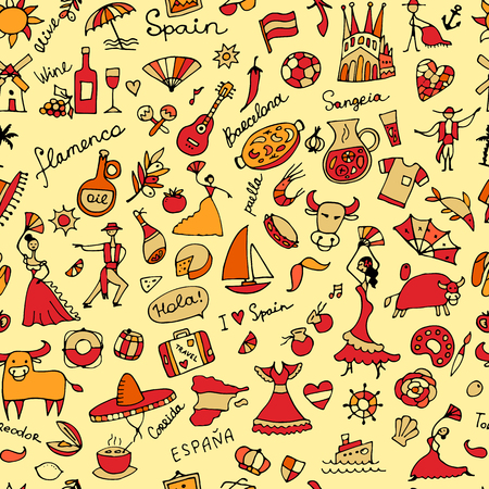 castanets: Spanish-inspired seamless pattern.