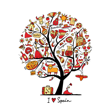 spanish food: Art tree with Spain symbols for your design. Illustration