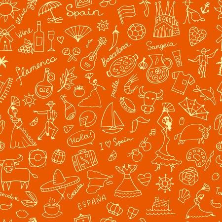 castanets: Spainish-inspired seamless pattern. Illustration