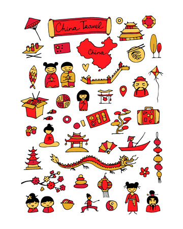 chinese new year dragon: China travel, icons set. Sketch for your design
