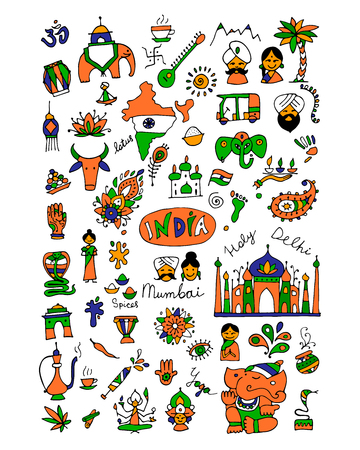 India, icons collection. Sketch for your design.
