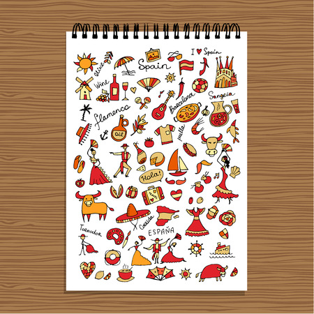 castanets: Spain, icons collection. Sketch for your design