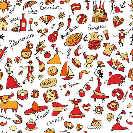 Spaans-geïnspireerd naadloos patroon. Vector Illustratie
