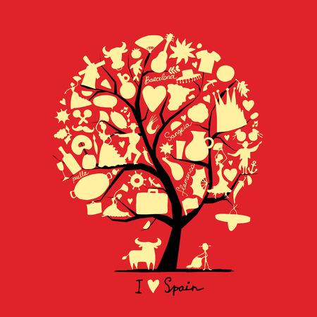 corrida de toros: Árbol del arte con los símbolos de España para su diseño