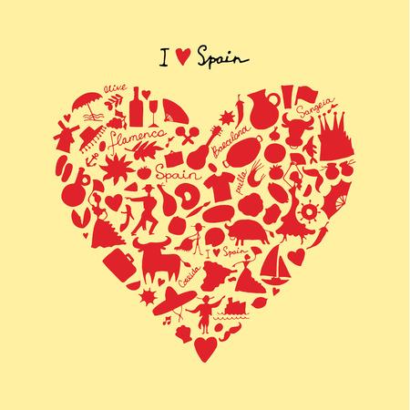 corrida de toros: Amor de España, forma del corazón del arte. Bosquejo para su diseño Vectores