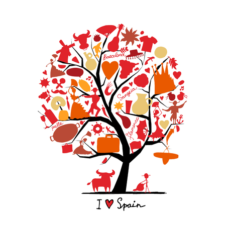 Art tree with spain symbols for your design