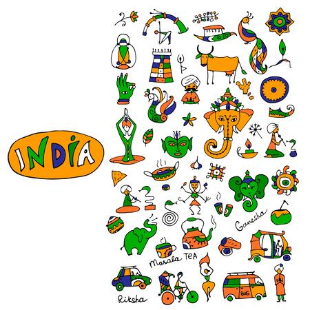 인도, 아이콘 컬렉션입니다. 디자인을위한 스케치. 벡터 일러스트 레이 션 스톡 콘텐츠 - 73863785