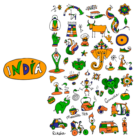lady cow: India, icons collection. Sketch for your design. Vector illustration