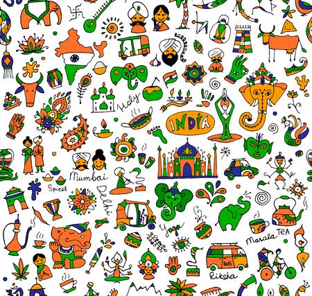rikscha: Bunte Indien-Skizze, nahtlose Muster für Ihr Design