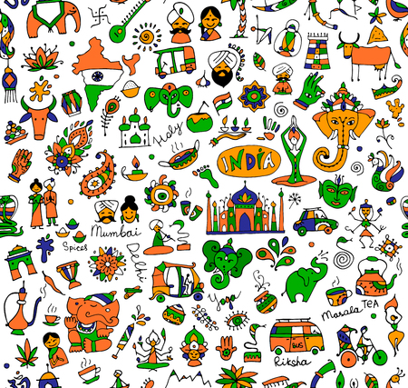 Colorful India sketch, seamless pattern for your design