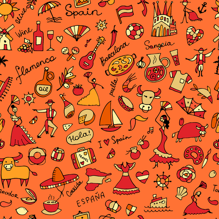 castanets: Spain, seamless pattern for your design Illustration