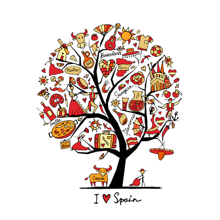 castanets: Artistic  Art tree with spain symbols for your design Illustration