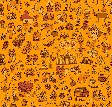 Esquisse de l'Inde, motif transparent pour votre conception