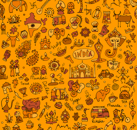India sketch, seamless pattern for your design