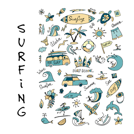 Surfing icons collection for your design. Vector illustration
