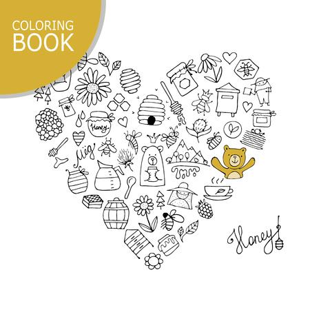 Honingbijenpictogrammen, hartvorm.