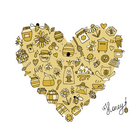 Honey apiary icons, heart shape.