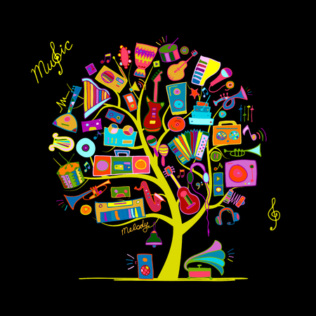 Muziekinstrumenten boom, schets voor uw ontwerp Stockfoto - 74389281