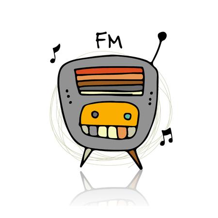 fm: Vintage radio, sketch for your design