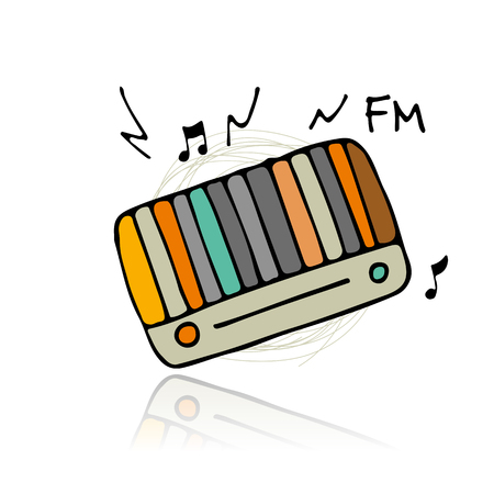 music: Vintage radio, sketch for your design