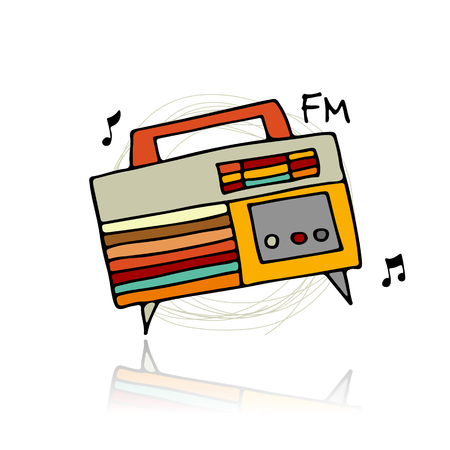 electronic: Vintage radio, sketch for your design