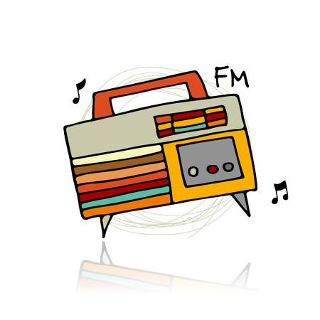 logo music: Vintage radio, sketch for your design