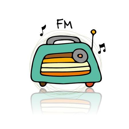 cassette tape: Vintage radio illustration. Illustration