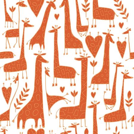 Grappig giraffen schets, naadloze patroon van uw ontwerp Vector Illustratie