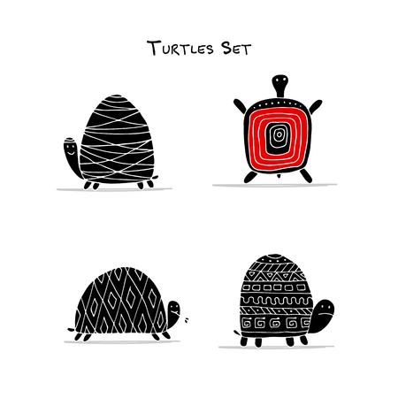 Funny turtles set, sketch for your design