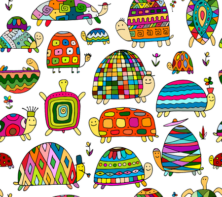 funny: Funny turtles collection, seamless pattern for your design