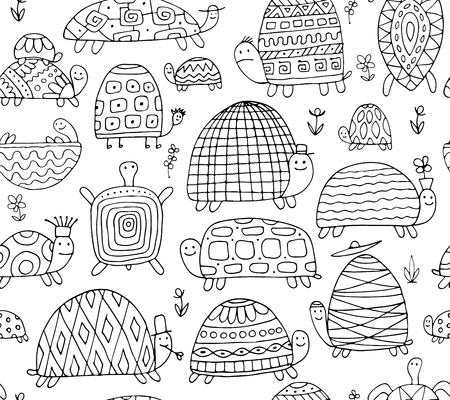 재미 있은 거북 수집, 디자인을위한 완벽 한 패턴
